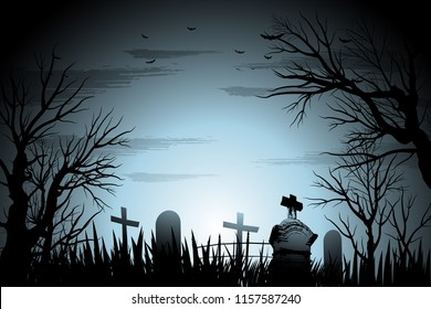 Halloween cemetery background illustration