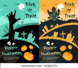 Halloween Cemetery House Pumpkin Face Party Invitation Card Set Flat Vector Illustration