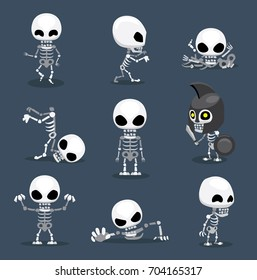 Halloween Character Big Head Poses Skeleton
