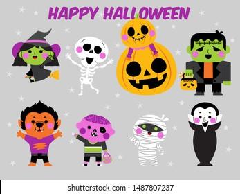 halloween character design set,halloween illustration