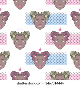 Halloween character face seamless vector pattern, fashion beauty concept background. Vampire demon girl head with horns and fangs, black young woman portrait with angel halo, space buns afro hairstyle