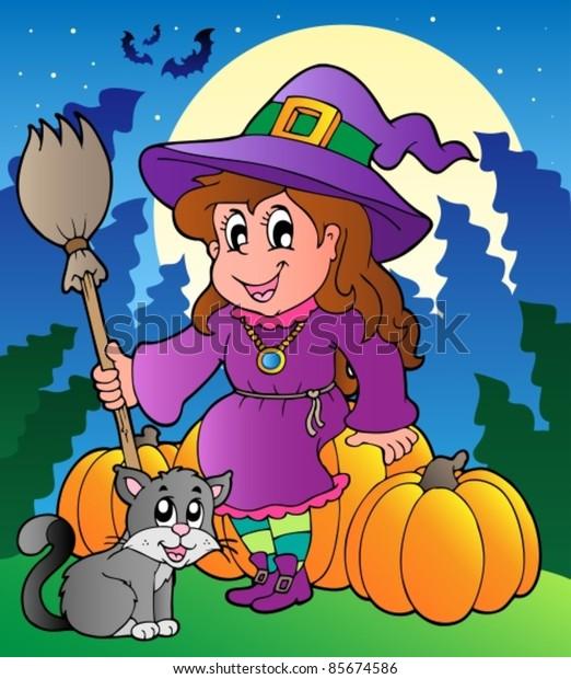 Halloween character scene 4 - vector illustration.
