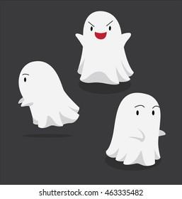 Halloween Character Set Cute Ghost Cartoon Vector Illustration