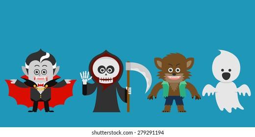 Halloween Character set. Halloween Party costume. flat design. vector illustration