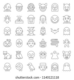 Halloween character thin line icon set