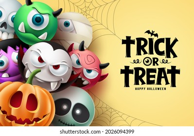 Halloween character vector background design. Happy halloween trick or treat text with scary, spooky and creepy mascot characters in cute facial expression. Vector illustration