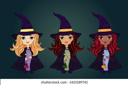 Halloween characters collection. Little wizards set. Beautiful girls in witch costume. Girls in Halloween costumes. Funny and cute carnival  set.Halloween Kids Costume Party. Colorful magic character.
