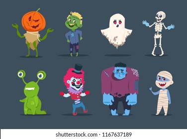 Halloween characters. Cute monsters and kids dressing in halloween costumes. Vector isolated set evil pumpkin, horror mummy and ghost illustration