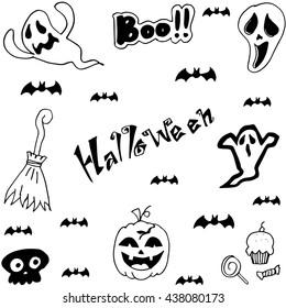 Halloween characters doodle set Vector art illustration.