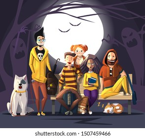 Halloween Characters Friends. Characters' Colors Are Halloween Pumpkin. Happy Halloween Characters For Your Business Project. Halloween Vector Illustration