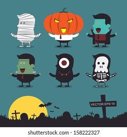 Halloween characters icon set.