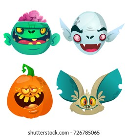 Halloween characters  set. Cartoon of bat, pumpkin Jack o lntern, zombie, vampire. Vector illustrations.  Design for print, poster, invitation, logo, emblem or sticker