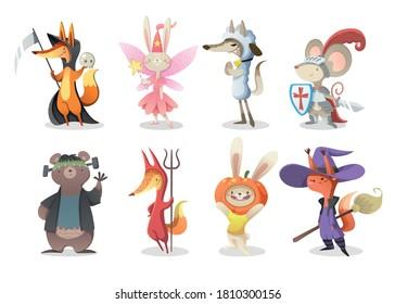 Collection d'images vectorielles de personnages d'Halloween. Beaux animaux en costumes d'halloween pour les enfants. Illustration avec renard, lapin, loup, souris, ours, écureuil pour carte de fête, bannières, invitation