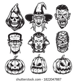Halloween characters vintage set with grim reaper witch zombie frankenstein vampire mummy heads and scary pumpkins isolated vector illustration