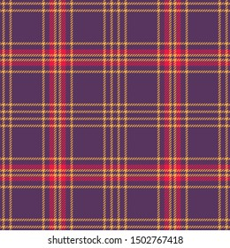 Halloween check pattern. Seamless hounds tooth tweed tartan plaid texture in purple, bright red, and yellow for colorful flannel shirt, skirt, jacket, blanket, or other modern fabric design.