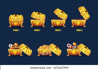 Halloween chest with sweets and coins. Vector animation step by step open and closed pumpkin chest. Objects on a separate layer.