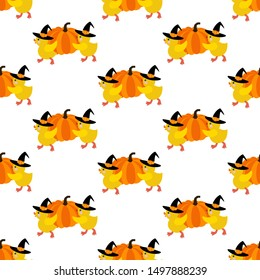 Halloween chicken with pumpkin seamless pattern on the white background. Vector illustration