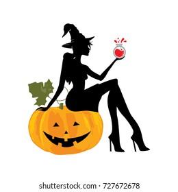 Halloween clip art, pumpkin and beautiful witch