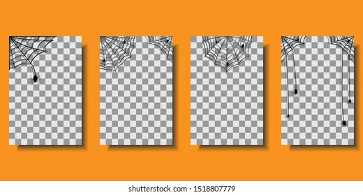Halloween cobweb with spiders in corners, isolated on transparent background. Cobweb set for scary design. Vector illustration
