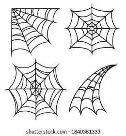 Halloween cobweb or spiderweb vintage set in monochrome style isolated vector illustration