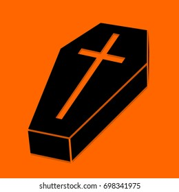 Halloween Coffin. Black icon on orange background. Vector illustration coffin