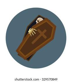Halloween Coffin Colored Vector Icon