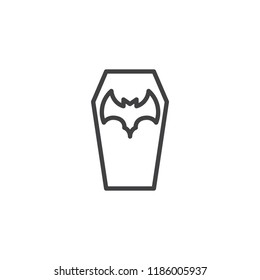 Halloween coffin outline icon. linear style sign for mobile concept and web design. Coffin with bat simple line vector icon. Symbol, logo illustration. Pixel perfect vector graphics