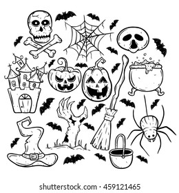 Halloween collection icons with pumpkin, cauldron, spider, witch hat, castle and bat using doodle art