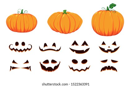 Halloween collection of pumpkin faces. Generator with empty pumpkins and scary faces. Vector cartoon set.