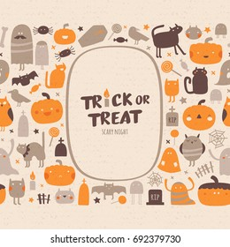 Halloween collection. Halloween seamless pattern with frame and place for your text. Vector background. trick or treat lettering. Ornament for greeting card or takeaway cup.