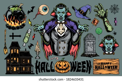 Halloween colorful vintage elements set with vampire witch cauldron hat broom haunted house pumpkin candle zombie body parts gravestone human eye candies isolated vector illustration