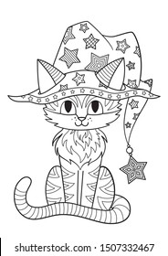 halloween coloring page cat hat 260nw