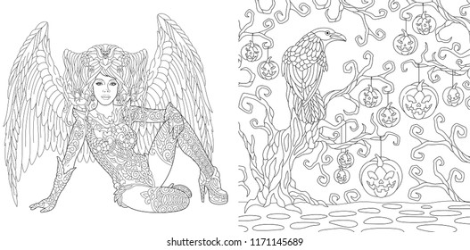 Halloween Coloring Pages. Coloring Book for adults. Angel girl with wings. Horror background with pumpkins and crow. Antistress freehand sketch drawing with doodle and zentangle elements.