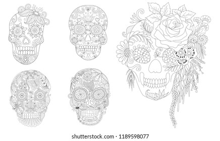 Halloween Coloring Pages. Coloring Book for adults. Flowers on skulls collection for design element.Clean lines drawing with doodle and zentangle elements.Vector illustration