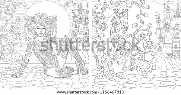 - Halloween Coloring Pages Coloring Book Adults Stock Vector (Royalty Free)  1166467813