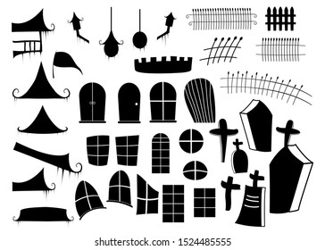 Halloween The components of haunted house church and other buildings object set are separated into pieces isolated on white background, used for festive decorations