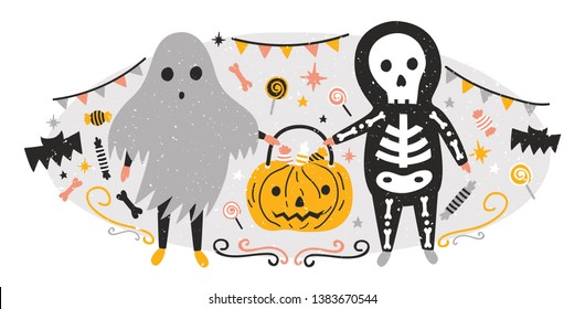Halloween composition with funny spooky ghost and skeleton holding Jack-o'-lantern full of candies. Scene with creepy fairytale characters. Trick or treat. Holiday flat cartoon vector illustration.