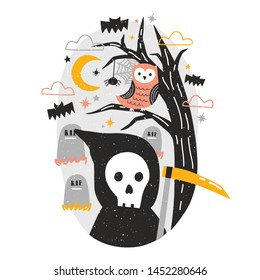 Halloween composition with Grim Reaper holding scythe and owl sitting on tree branch against graves on cemetery and starry night sky on background. Flat cartoon colorful festive vector illustration.