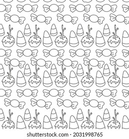 Halloween concept. hand drawn seamless pattern for Halloween. caramel apple, candy corn, sweets, trick or treat