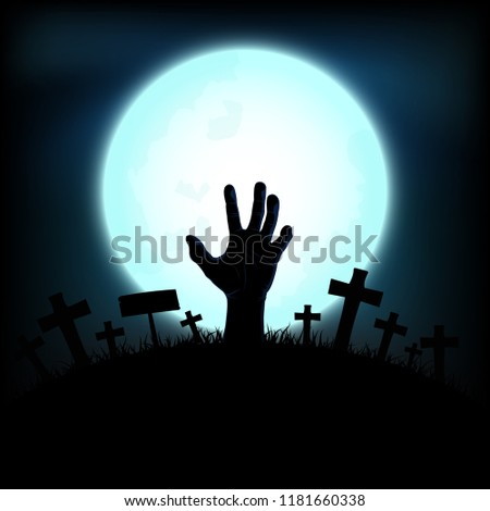 Halloween concept with zombie hand rising out from the ground in full moon night background, Vector illustration