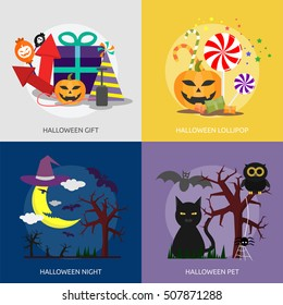 Halloween Conceptual Design | Set of great banner flat design illustration concepts halloween, holiday, horror, night and much more.