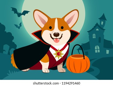 Halloween corgi dog in vampire costume against spooky background: night scene with full moon, haunted house, cemetery tombstones, flying bats. Funny humorous Halloween pet theme poster, greeting card.