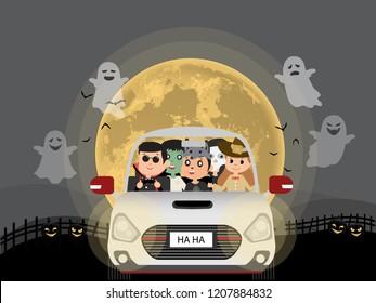 Halloween costume kids. in car at night, ghost, black castle. flat design