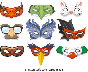 Halloween costume mask cartoon illustration icons
