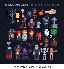 Halloween costume party characters icons set, greeting card or invitation design elements pixel art style isolated vector illustration cartoon children kids characters creatures, video game sprite.