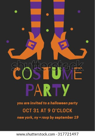 Halloween Costume Party Invitation Template Stock Vector Royalty