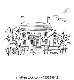 Halloween creepy old house with chimneys, wooden shutters, fearful tree, wry fence with web. Flying bats. Illustration for your design.