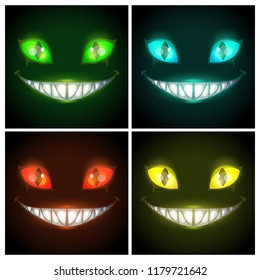 Halloween creepy posters set. Fantasy scary smiling evil animal face on the black background. Cheshire Cat eyes and mouth, vector illustration. Nightmare fantasy creature.