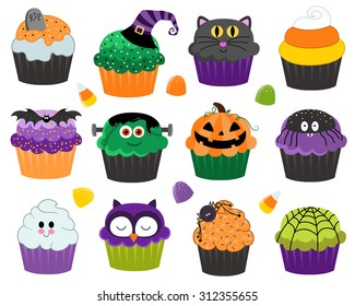 Halloween Cupcakes and Treats Vector Set Isolated