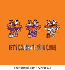 Halloween cupcakes with the words let's celebrate with cake and crazy icing and decorations doodle vector illustration on orange background